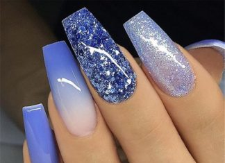 blue glittercoffin nails