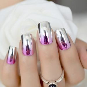 pink and silver ombre nails