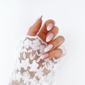 white bridal nails