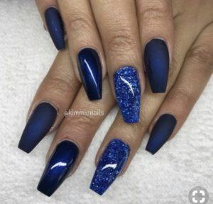 coffin sparkle blue nails