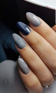 deep blue and gray nails