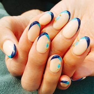 french tip blue nails