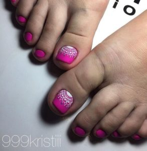 lace print over the pink nails