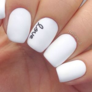 black and white love mani