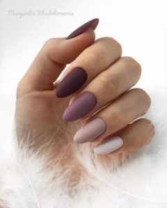 Purple, lavender and white matte nails