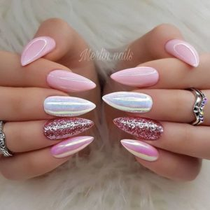 pink, shimmer and metallic nail look