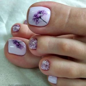 lavender nails with sparkles