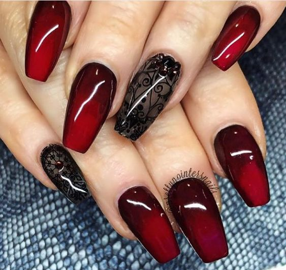 Red and Black Nail Designs |