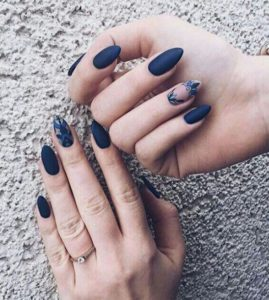 blue almond-shaped nails