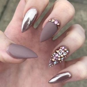 stiletto metallic and matte nails with rhinestones