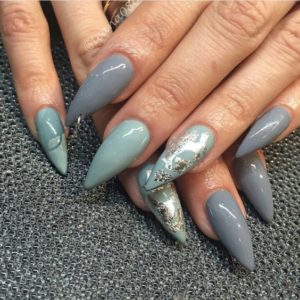 turquoise and gray stiletto