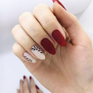 white and red nail look