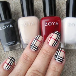 Burberry patterned nails