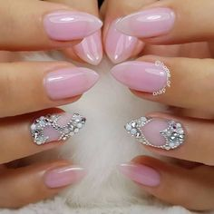 glitter heart pink pointed