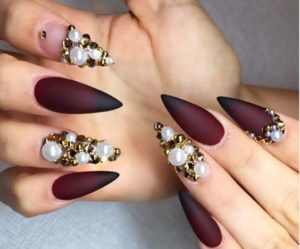 pearls, burgundy and shimmer look