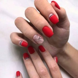 red nails with lines