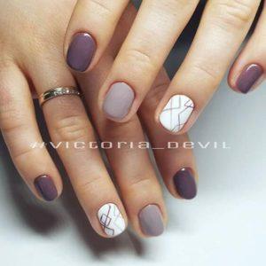 short purple and white