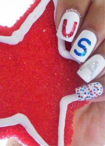 white usa nails