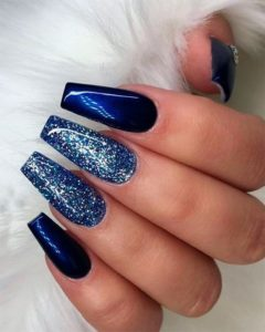 Blue Nails Coffin and glitter