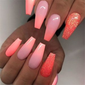 Bright Summer Coffin Acrylic Nails