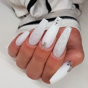 Coffin white nails and diamonds