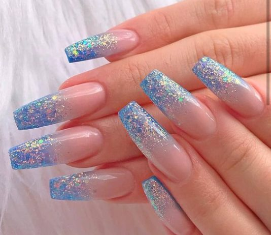 Neutral and glitter blue Blue Nails Acrylics
