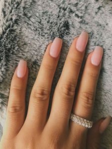 Nude acrylic nails coffin
