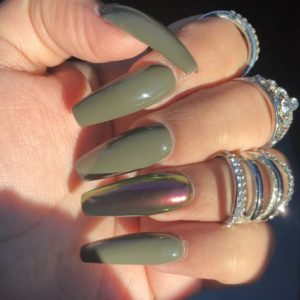 green metallic acrylic nails coffin