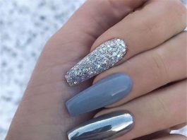 grey chrome glitter acrylic nails coffin