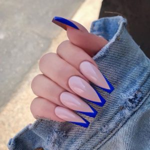 blue coffin french tip acrylic nails