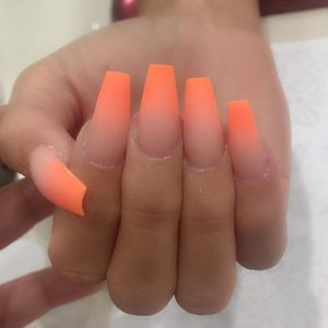peach ombre acrylic nails coffin