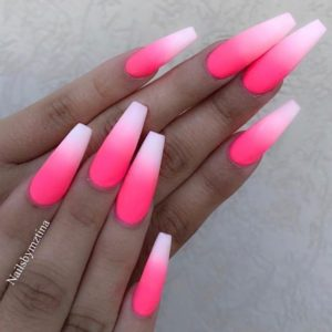 pink ombre acrylic nails coffin
