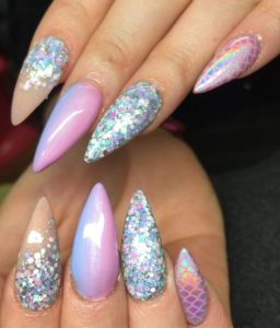 stiletto iridescent scales mermaid nails