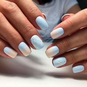 soft ombre Short Acrylic Nails