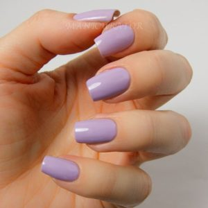 solid lavender Short Acrylic Nails