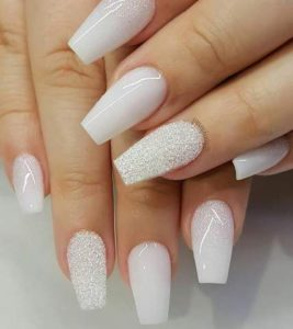 white glitter acrylic nails coffin