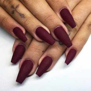wine color acrylic nails coffin