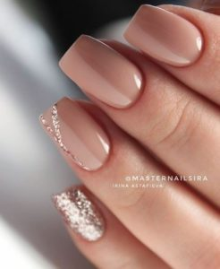 nude solid with glitter Short Acrylic Nails