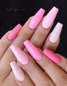 shades of pink coffin acrylic nails
