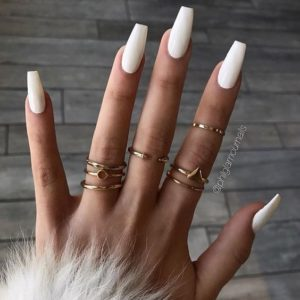 solid white coffin acrylic nails