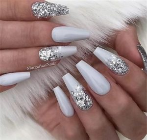 silver white coffin acrylic nails