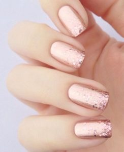 rose gold base with rose gold glitter gradient from tips