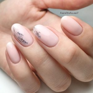 nail art of ferns over two nails