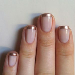 Gold tip French manicure