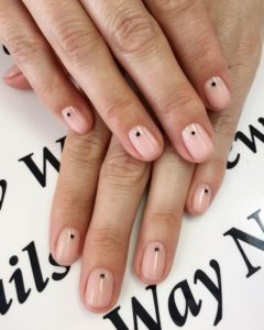 Spots at the centre of the nail bed over nude polish