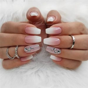 rhinestones on accent nails and natural ombre nails