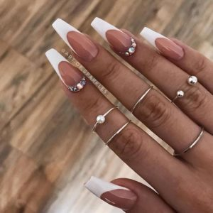 Glam White coffin acrylic nails with diamonds