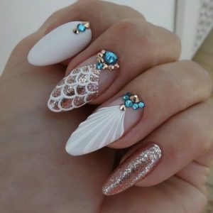 mermaid nails with gems