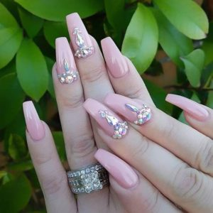 nude pink nails with gems