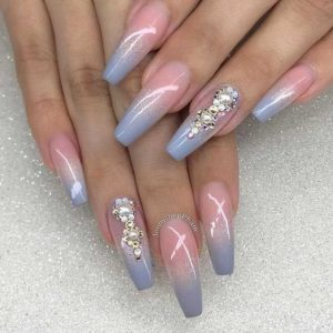 baby blue ombre coffin nails